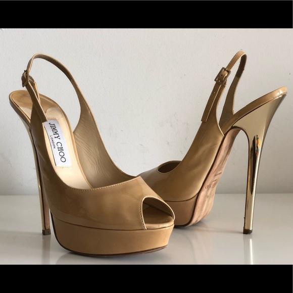 78660a0ca65 Jimmy Choo Shoes - JIMMY CHOO VITA PEEP TOE SLINGBACK PUMPS SIZE 38.5